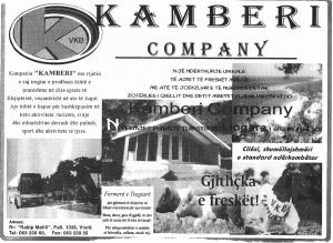 Kamberi Company Ad, 1996