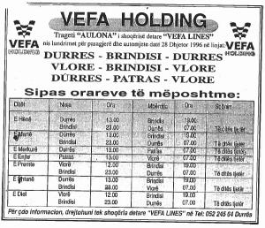 Vefa's Albania-Italy Ferry Ad